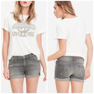 Mother The Dropout cuff gray jean shorts